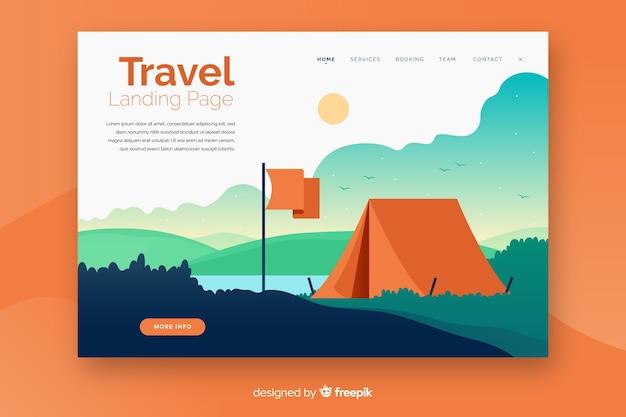 Landing page de viaje en diseño plano
