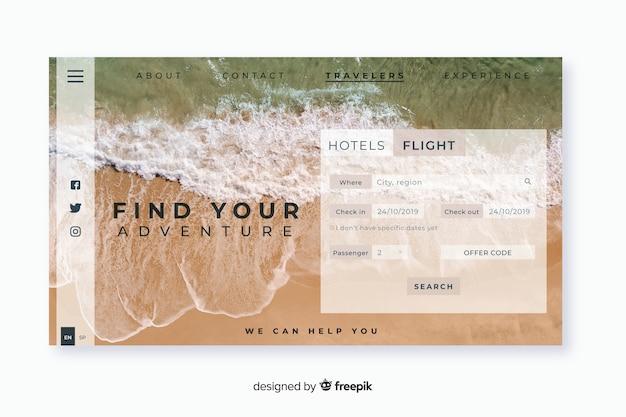 Landing page de viaje con imagen