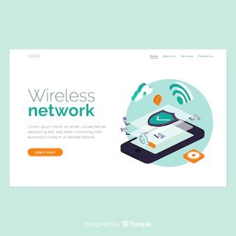 Landing page de wireless network en isométrico