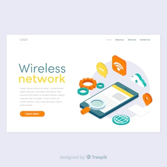 Landing page de wireless network en isométrico