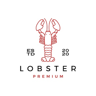 Langosta cangrejo pescado mariscos logo icono ilustración
