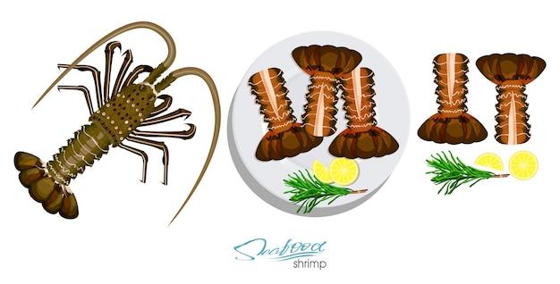 Langosta de carne con romero y limón en el plato.ilustración de vector en estilo de dibujos animados