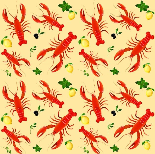 Langosta comida de mar menta perejil limón oliva de patrones sin fisuras vector ilustración