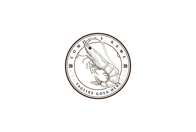 Langosta de gambas de camarón retro vintage para restaurante de mariscos etiqueta de producto vector de diseño de logotipo