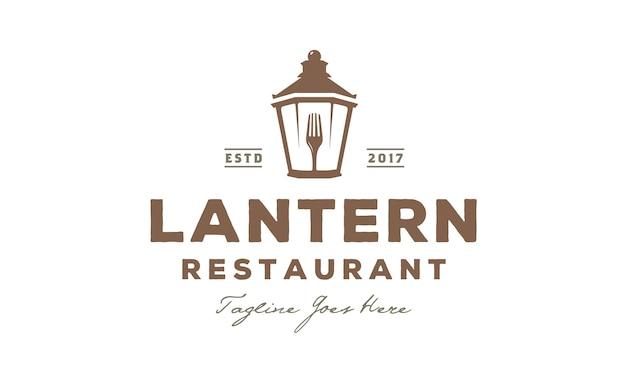 Lantern post restaurant vintage logo design