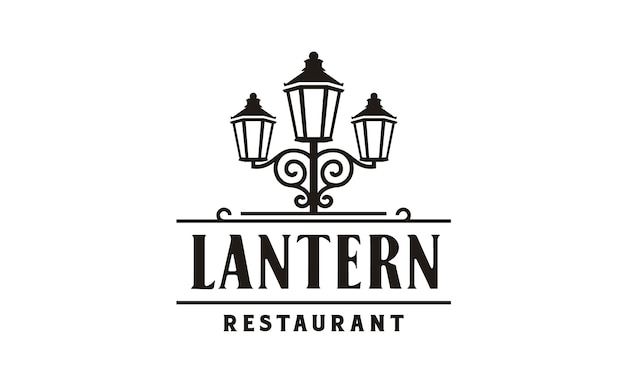 Lantern post restaurant vintage logo design