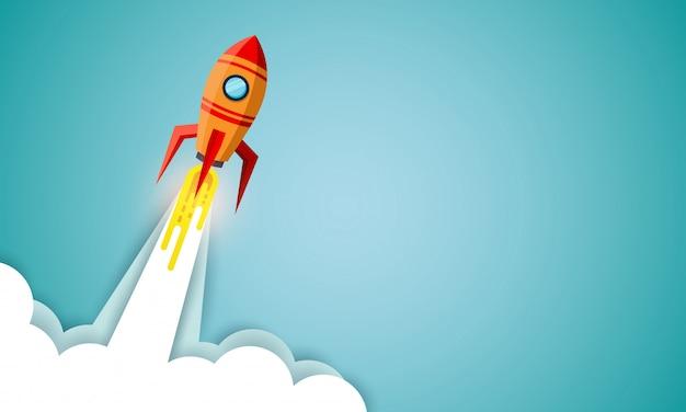 Lanzadera espacial lanzada al cielo sobre fondo azul. poner en marcha el concepto de negocio. ilustración vectorial