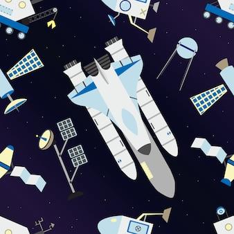 Lanzadera, satélites, vehículo lunar en patrón sin costuras.