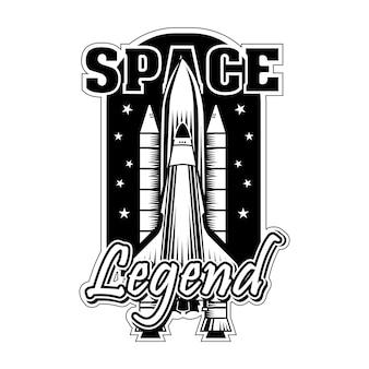 Lanzadera vintage para el universo explorando la ilustración vectorial. cohete monocromo listo para lanzar o comenzar