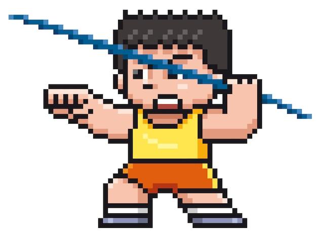 Lanzador de jabalina de dibujos animados - diseño de píxeles