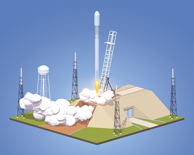 Lanzamiento en 3d lowpoly isométrico del cohete espacial moderno