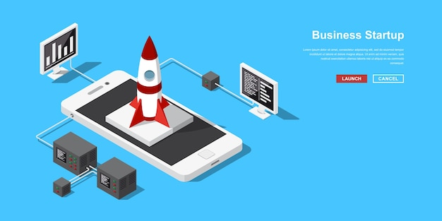 Lanzamiento de una aplicación móvil o una nueva startup. despegue de cohetes o naves espaciales desde el teléfono móvil. banner de concepto en estilo isométrico para el inicio de nuevos negocios, servicios o productos.