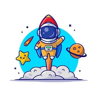 Lanzamiento de astronauta lindo con ilustración de icono de dibujos animados de cohete