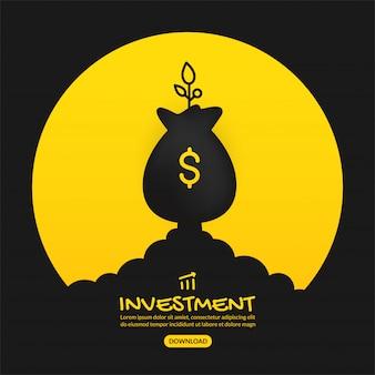 Lanzamiento de bolsa de dinero sobre fondo amarillo, concepto de inversión empresarial