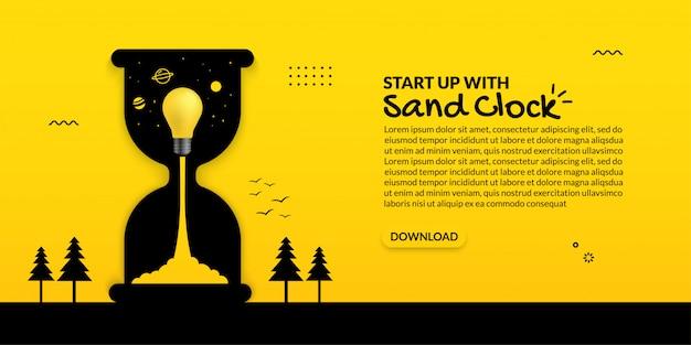 Lanzamiento de la bombilla dentro del reloj de arena sobre fondo amarillo, concepto de inicio de negocio