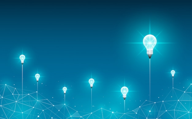 Lanzamiento de bombillas en el fondo. fondo geométrico poligonal concepto de idea, negocio, ciencia y tecnología.