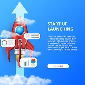 Lanzamiento de cohete 3d. haga crecer su negocio más rápido con el análisis gráfico de información de datos estadísticos