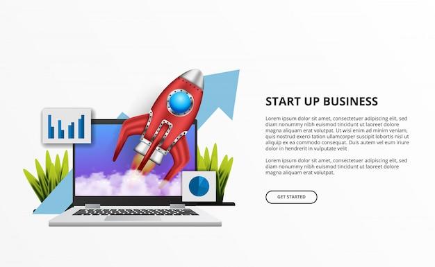 Lanzamiento de cohete 3d para el inicio de negocios con computadora portátil en el escritorio