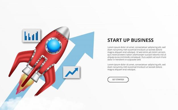 Lanzamiento de cohete 3d para el inicio de negocios con éxito flecha de crecimiento
