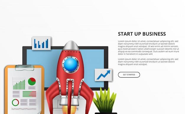 Lanzamiento del cohete 3d para el inicio de negocios con la ilustración de la oficina