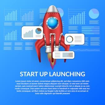 Lanzamiento del cohete 3d para la plantilla de ilustración de concepto de inicio de negocio