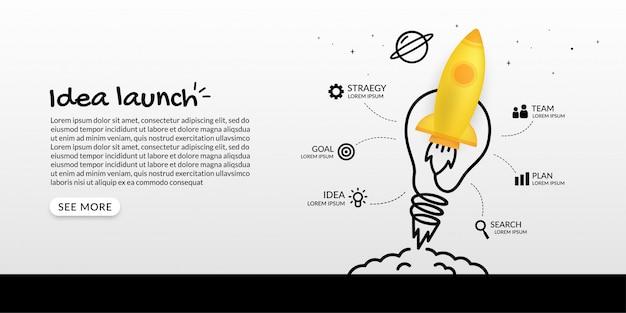 Lanzamiento de cohete al espacio con infografía de bombilla, concepto de negocio