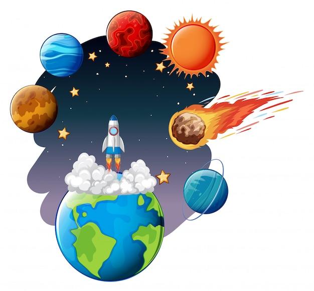 Lanzamiento de cohete al espacio.