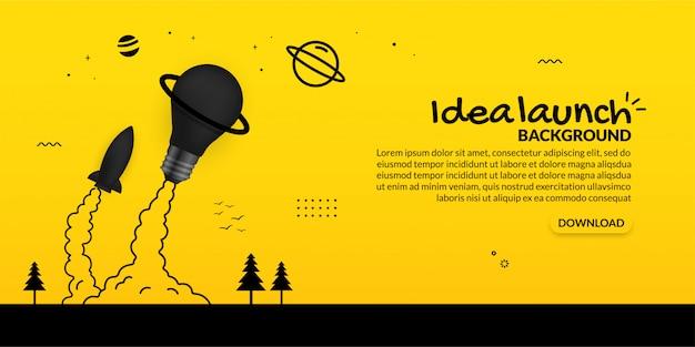 Lanzamiento de cohete y bombilla al espacio sobre fondo amarillo, concepto de negocio en marcha