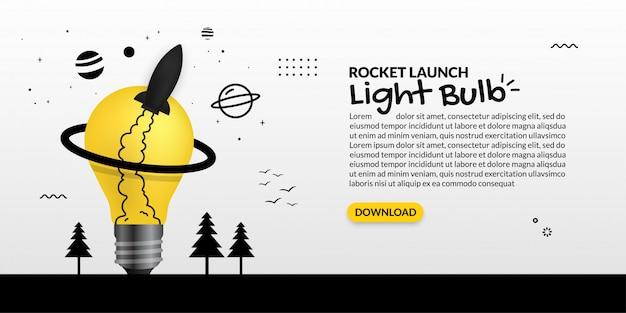 Lanzamiento de un cohete desde la bombilla sobre fondo blanco, concepto de inicio de negocio