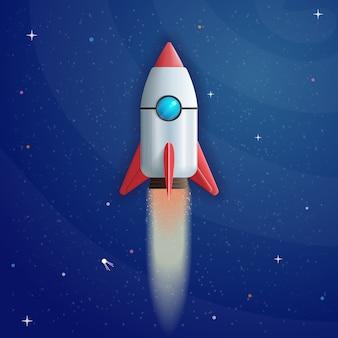 Lanzamiento de cohete de dibujos animados sobre fondo espacial en estilo 3d
