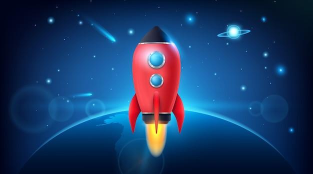 Lanzamiento del cohete espacial 3d. exploración espacial.