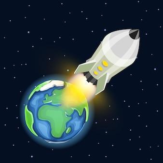 Lanzamiento de un cohete espacial. idea creativa de inicio, ilustración vectorial