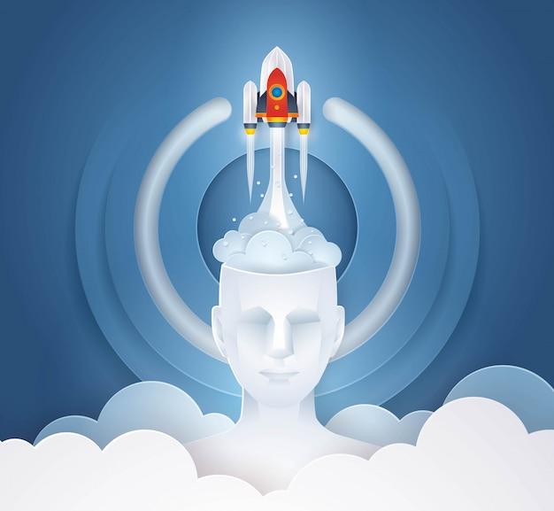 Lanzamiento de cohete desde head, abtract start icon background, concepto de inicio de idea de negocio