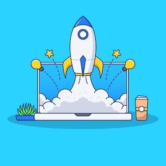 Lanzamiento de cohete en la ilustración de la computadora portátil en diseño plano