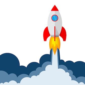 Lanzamiento de cohete. ilustración.