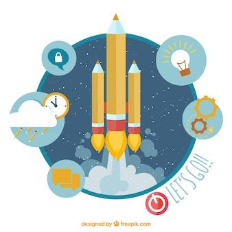 Lanzamiento de cohete infografía