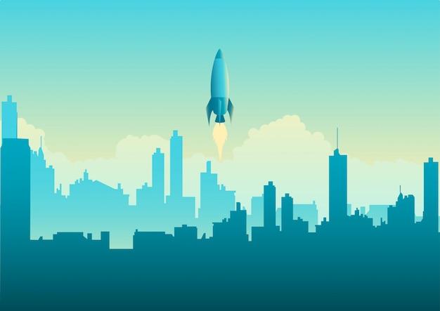 Lanzamiento de cohete en paisaje urbano