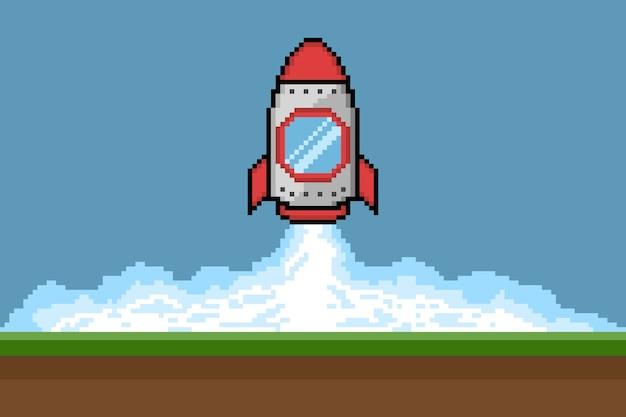 Lanzamiento de cohete pixel art, ilustración vectorial