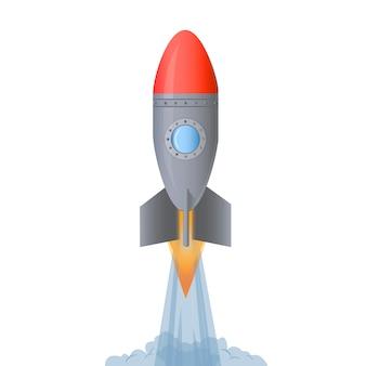 Lanzamiento de cohete. poner en marcha el concepto. ilustración vectorial de dibujos animados