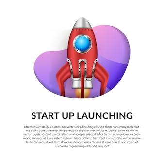 Lanzamiento del cohete rojo 3d para el inicio de negocios