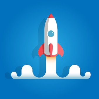Lanzamiento de cohete sobre fondo azul