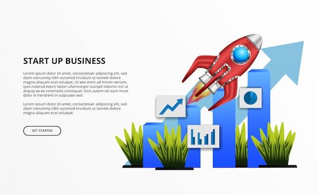 Lanzamiento de cohetes 3d para el inicio de negocios con estadísticas de crecimiento