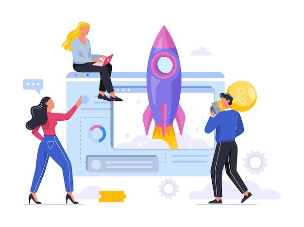 Lanzamiento de cohetes como metáfora de la puesta en marcha. concepto de desarrollo empresarial. concepto de emprendimiento. la gente logra el éxito. ilustración