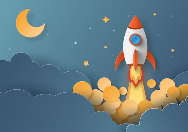 Lanzamiento de cohetes, concepto de startup business.