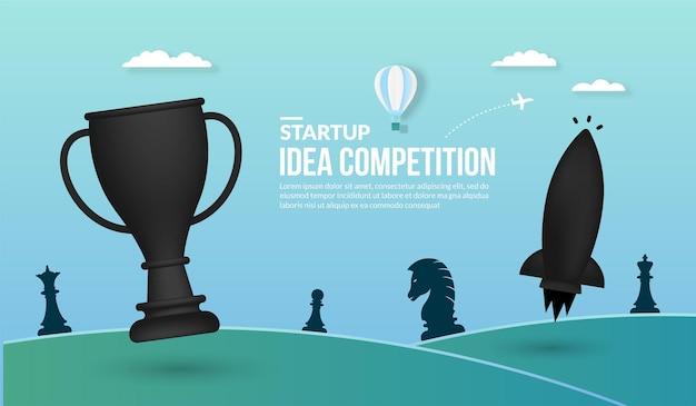 Lanzamiento de cohetes con concepto de trofeo de competencia de ideas de inicio de negocios