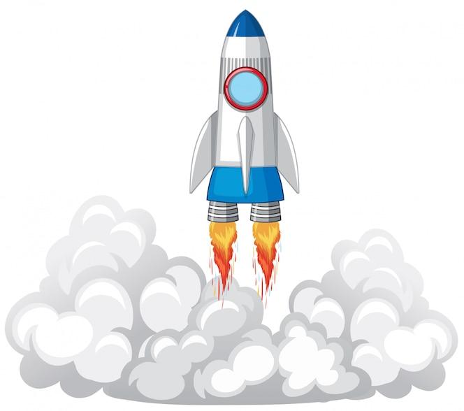 Lanzamiento de cohete en las nubes