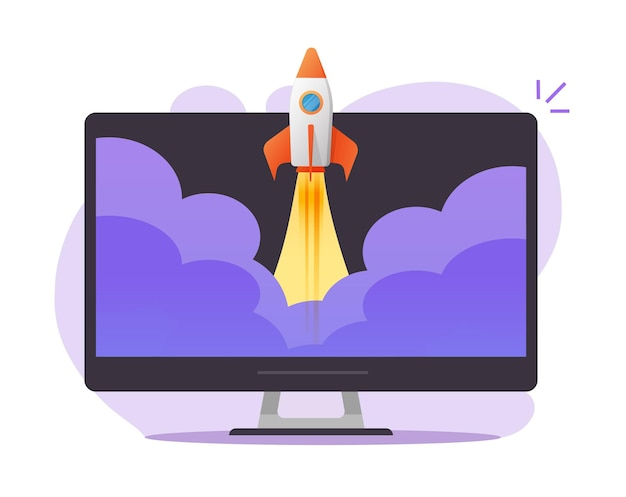 Lanzamiento de inicio en línea en la ilustración de dibujos animados plana de concepto de pc de computadora