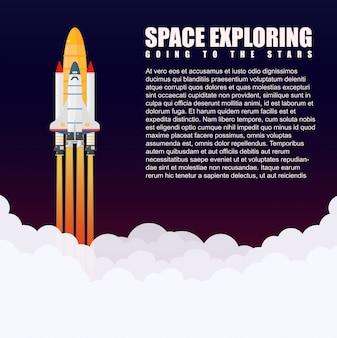 Lanzamiento de la nave espacial cohete espacial galaxy. volar una nave espacial en el espacio ultraterrestre.