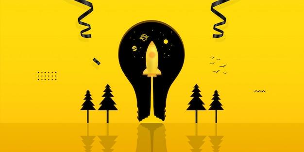 Lanzamiento de la nave espacial dentro de la bombilla sobre fondo amarillo, concepto de inicio de negocio