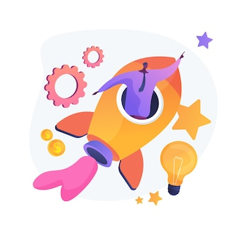 Lanzamiento de proyecto empresarial. soluciones innovadoras, pensamiento creativo, ideas valientes. auto motivación y aspiraciones profesionales del empresario. ilustración de metáfora de concepto aislado de vector